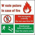 Opinie o Techem Znak Zakaz korzystania z windy w razie pożaru PF