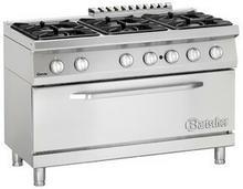 Bartscher 6-palnikowa kuchnia gazowa z dużym piekarnikiem gazowym