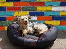 Hobbydog L Legowisko Owalne - Czarny z czerwoną lamówką