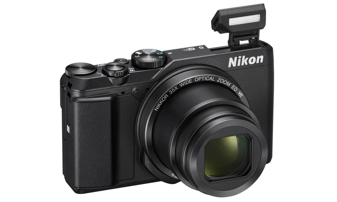 Aparat kompaktowy Nikon Coolpix A900 czarny VNA910E1 lampa błyskowa