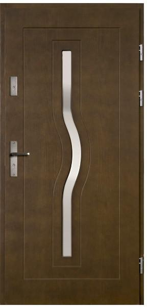 Radex Drzwi zewnętrzne drewniane Hercules 90 prawe ciemny orzech