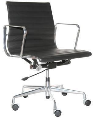 D2.Design CH Fotel biurowy inspirowany EA117 skóra 59x58 cm chrom/czarny 24968