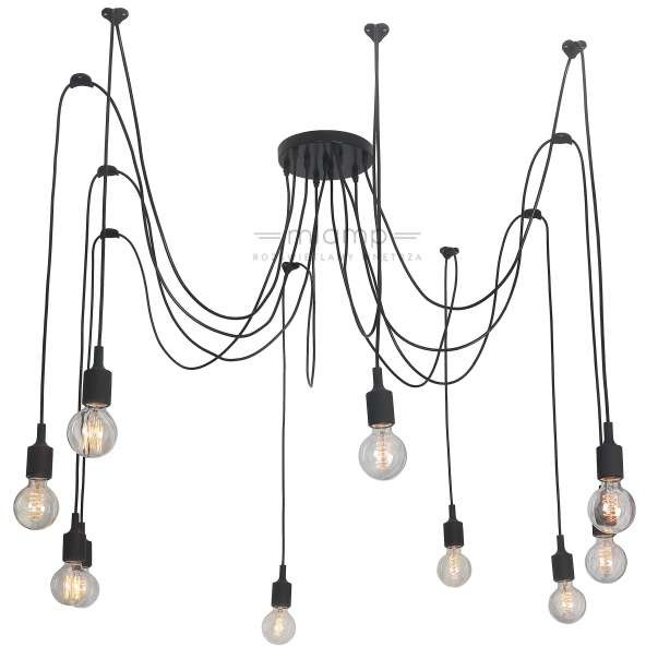 Light Prestige LAMPA wisząca SOLETO LP-90082/10P metalowa OPRAWA industrialny zwis kabel spider pająk czarny