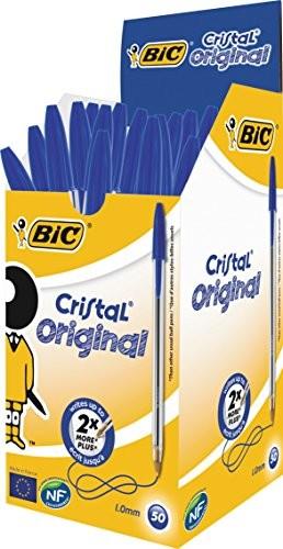 BIC Cristal Medium długopis, grubość linii 0,4 mm, średnica kulki 1,0 mm, kolor niebieski, opakowanie 50 sztuk 8373602