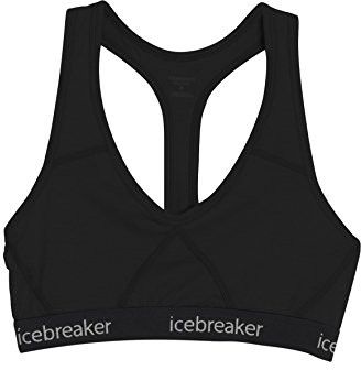 Icebreaker Damen Funktionsunterwäsche Sprite Racerback Bra, Black, XS, 103020001