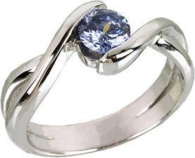 Tyfanit Srebrny pierścionek z cyrkonią niebieską R633