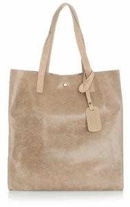 e1cfa4d93726f Vera Pelle Torba Skórzana Shopper Bag z Kosmetyczką Beżowa (kolory) 205454be