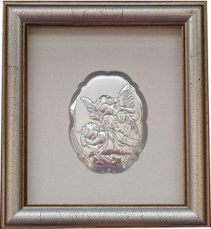 BELCOM Obrazek Anioł Stróż z latarenką w ramce za szkłem - (BC#6298/2G)