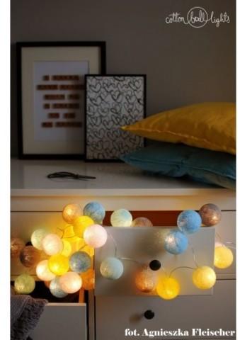 Cotton Ball Lights Kolorowe kulki kompozycja - Sunny Turquoise