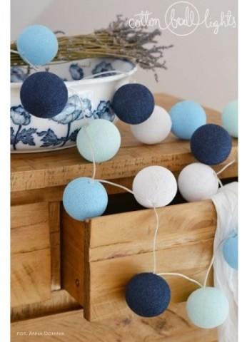 Cotton Ball Lights Kolorowe kulki kompozycja - Big Blue