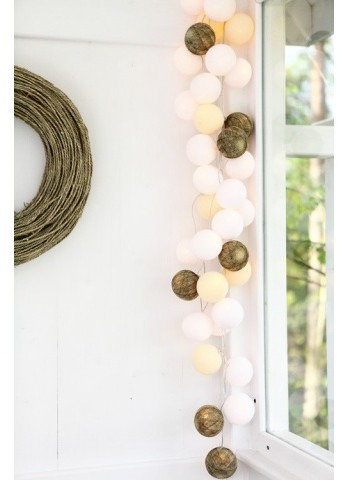 Cotton Ball Lights Kolorowe kulki kompozycja - Green Canoe Natural