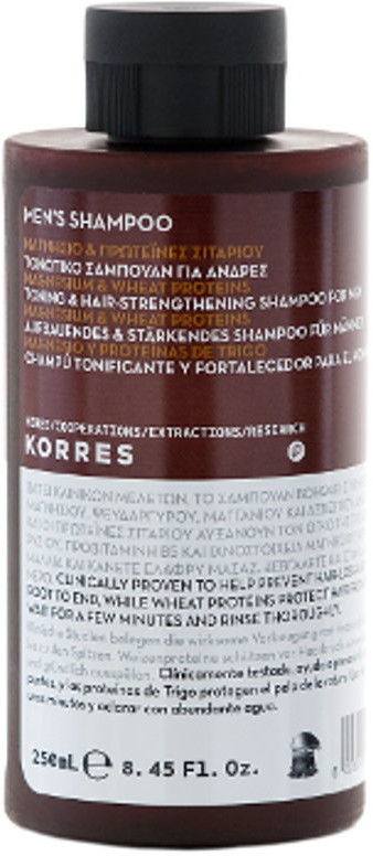 Korres Mens Shampoo Toning & Hair-Strengthening Tonizujący i wzmacniający szampon do włosów z magnezem i proteinami pszenicy 250 ml
