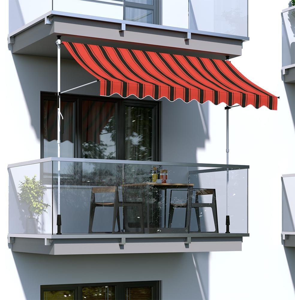 Paramondo Markiza balkonowa, gotowa, szer. 2m wysięg 1,5m. rama grafitowa, tkanina pomarańczowo-czarna