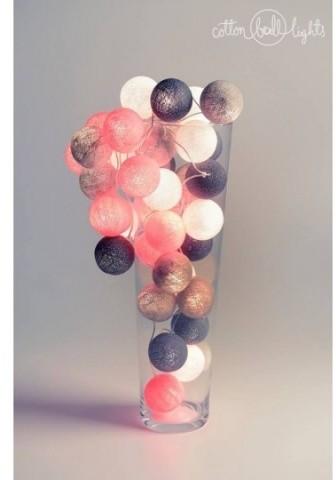 Cotton Ball Lights Kolorowe kulki kompozycja - Grey & Pink