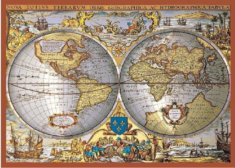 Piatnik Antyczna mapa świata puzzle metalizowne
