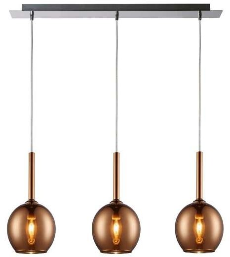 Zuma Line Miedziana LAMPA zwieszana MONIC MD1629-3A Copper szklana OPRAWA zwis LISTWA sufitowa kule balls miedziane
