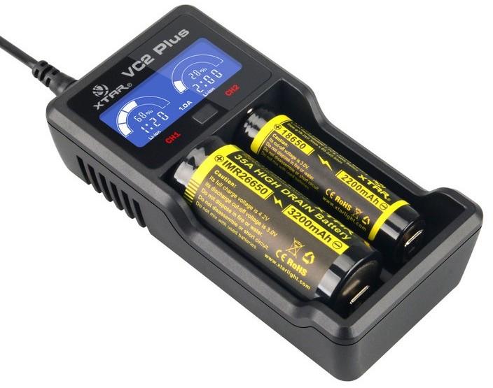 Xtar VC2 PLUS Ładowarka do akumulatorów cylindrycznych Li-ion 18650