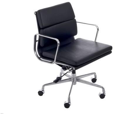 D2.Design CH Fotel biurowy inspirowany EA217 skóra 59x60 cm chrom/czarny 27751