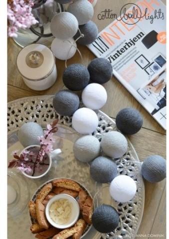 Cotton Ball Lights Kolorowe kulki kompozycja - Grey Shadow
