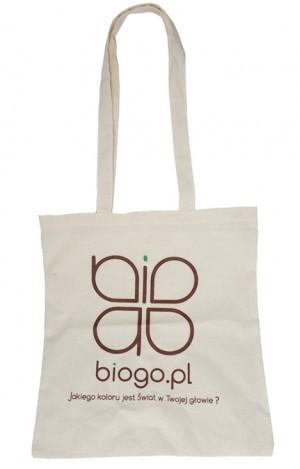 1c5409bd8a78a Torba na zakupy bawełniana z naturalnej bawełny indyjskiej ecru z logo  biogo.pl