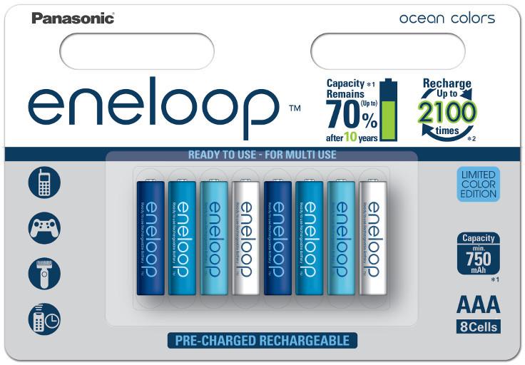 Panasonic 8 x akumulatorki Panasonic Eneloop Ocean Colors R03/AAA 800mAh blister BK-4MCCE/8BE