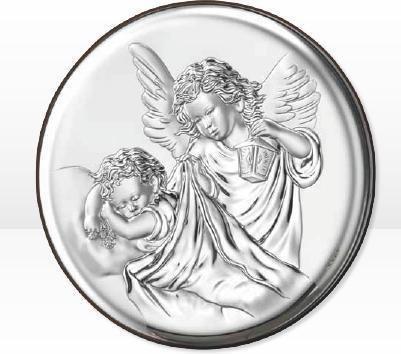 Valenti & Co Piękny Obrazek Anioł Stróż o okrągłym kształcie - (V#18023)