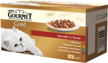 Purina Gourmet Gold kawałki w sosie mokra karma dla kota z wołowiną, z indykiem i kaczką, z łososiem i kurczakiem, z kurczakiem i wątróbką 4x85g