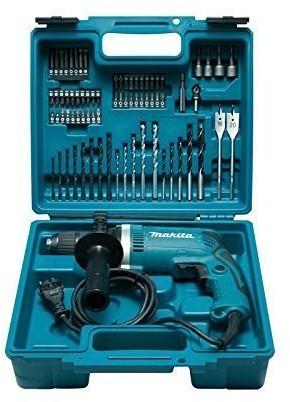 Makita HP1631KX3 wiertarka udarowa w walizce, z 74-częściowym zestawem akcesoriów, 710 W