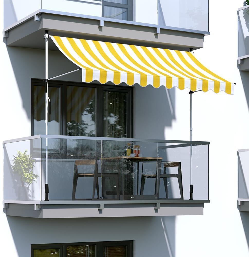 Paramondo Markiza balkonowa, gotowa, szer. 2m wysięg 1,5m. rama biała, tkanina żółto-biała