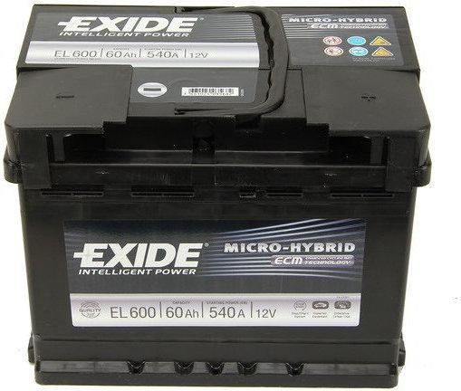 Exide MICRO-HYBRID ECM EL600 540A 12V P+