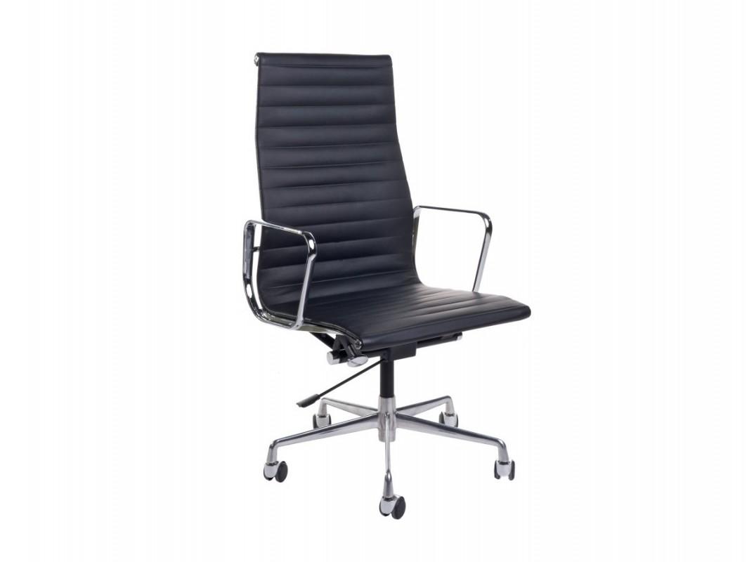 D2.Design CH Fotel konferencyjny inspirowany EA119 skóra 58x60 cm chrom/czarny 25672
