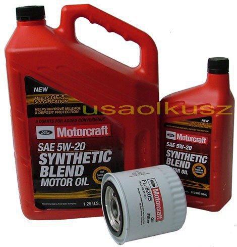 MOTORCRAFT Oryginalny filtr oraz olej silnikowy 5W20 Ford Mustang 4,6