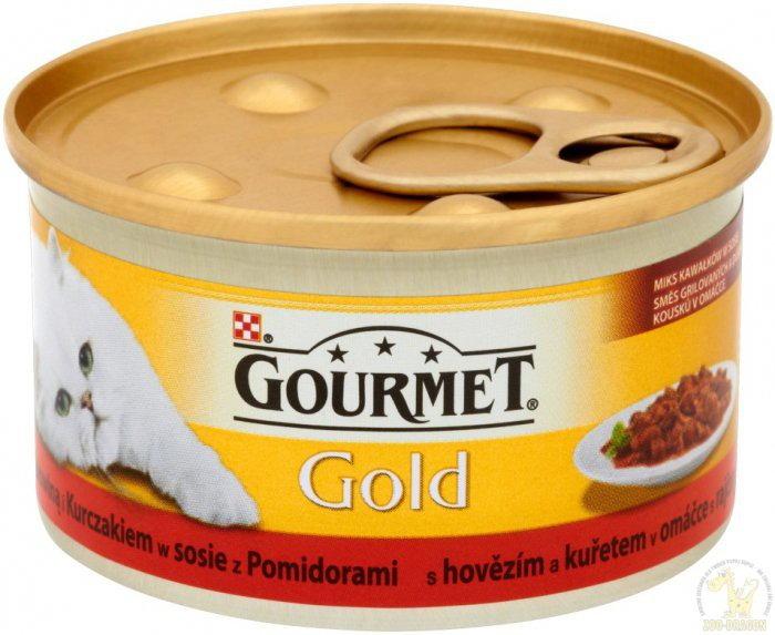 Purina Gourmet Gold Casserole mokra karma dla kota z wołowiną i kurczakiem 85g