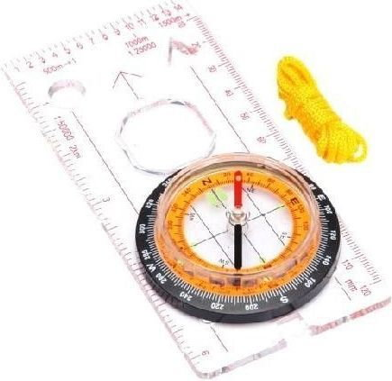 Meteor Kompas z linijką (pomarańczowa tarcza) 71021