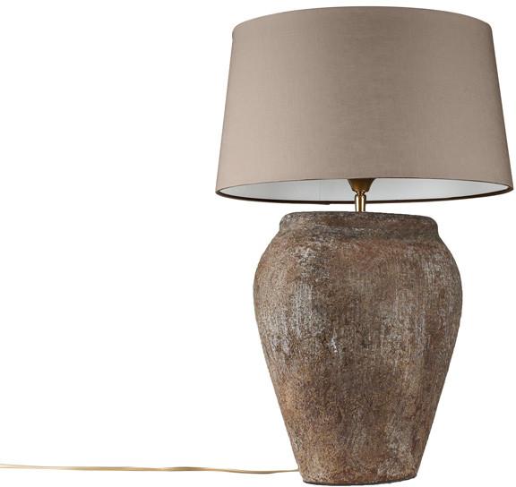Vintage QAZQA Lampa stolowa Blava owalna z szarobrazowym kloszem 45cm (94224)