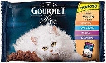 Purina Gourmet 3+1 gratis Perle mini fileciki w sosie mokra karma dla kota z indykiem, z tuńczykiem, z kaczką, z jagnięcinš 4x85g