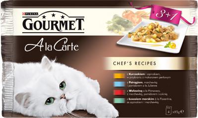 Purina Gourmet 3+1 gratis A la Carte Kawałki w sosie mokra karma dla kota z kurczakiem, z pstrągiem, z wołowinš, z łososiem morskim 4x85g