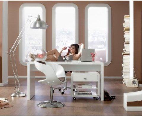 Kare Design Retro Design biurko białe lakierowane na wysoki połysk 180x85cm Whit