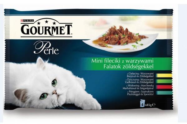 Purina Gourmet 3+1 gratis Perle mini fileciki z warzywami w sosie mokra karma dla kota z cielęciną i warzywami, z dziczyznš i warzywami, z wołowinš i marchewkš, z pstršgiem i szpinakiem 4x85g