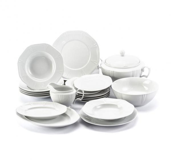 Chodzież Serwis Obiadowy Porcelanowy  Mariapaula Geometria Biały Na 6 Osób (23 El.)
