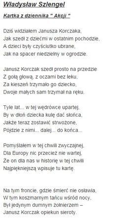 Odszukaj W Wierszu Fragmenty Dotyczące Janusza Korczaka