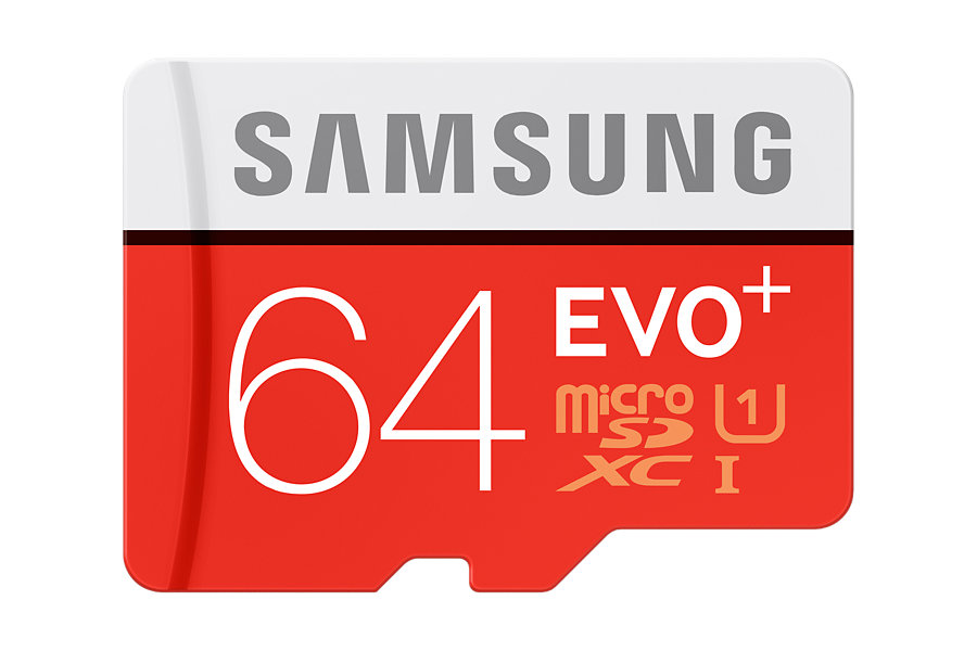 SAMSUNG EVO+ MICROSDXC 64GB | Szybkość Zapisu: 20 MB/s, Szybkość Odczytu: 80 MB/s |