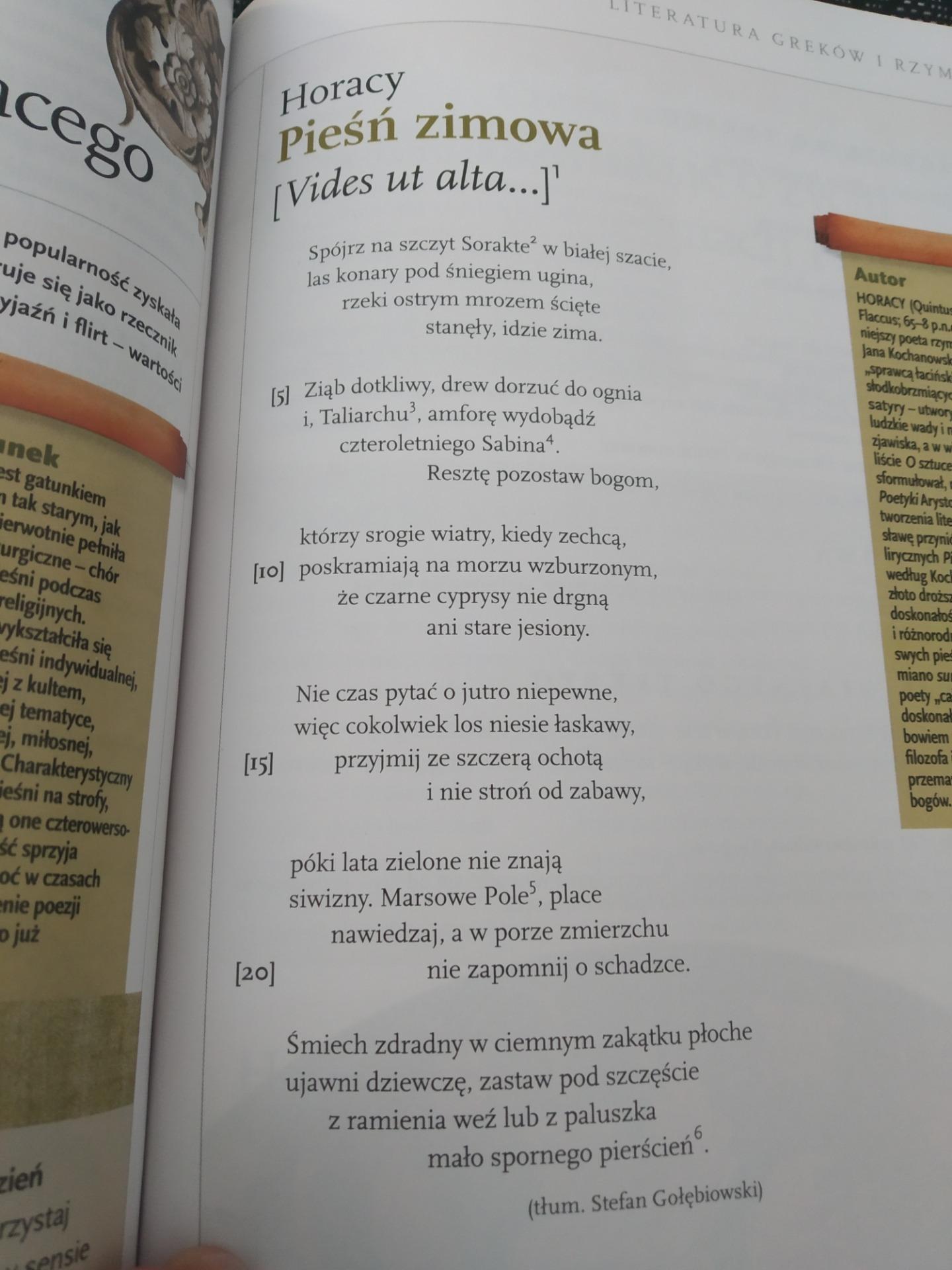 Przeczytaj Wiersz Horacego Pod Tytułem Pieśń Ziomowai