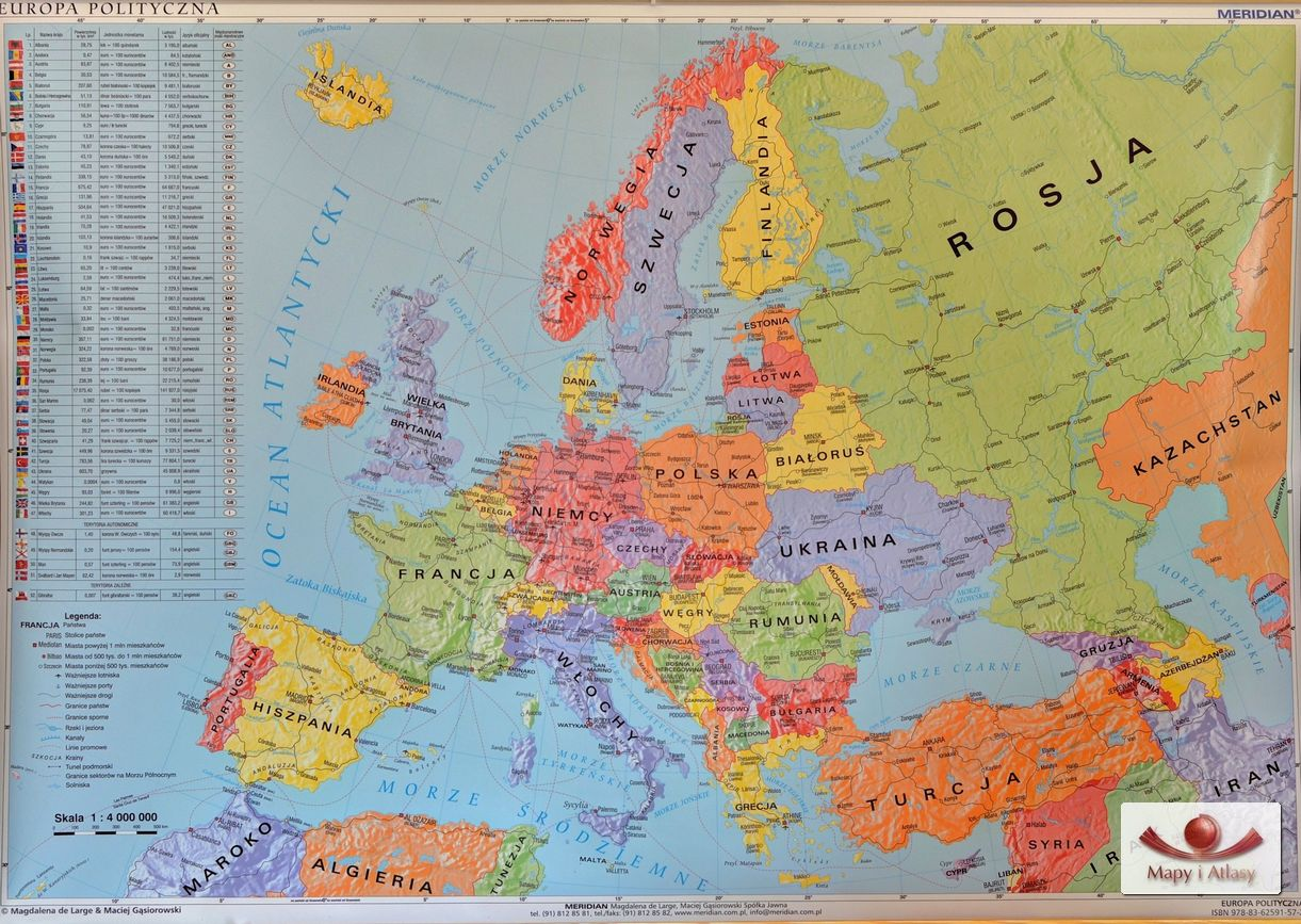 Mapa Europy Z Podzialem Politycznym Oraz Administracyjnym Panstw