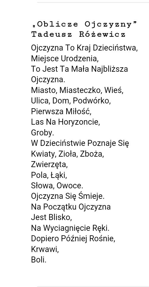 Znacie Jakieś Wiersze O Polsce Zapytajonetpl