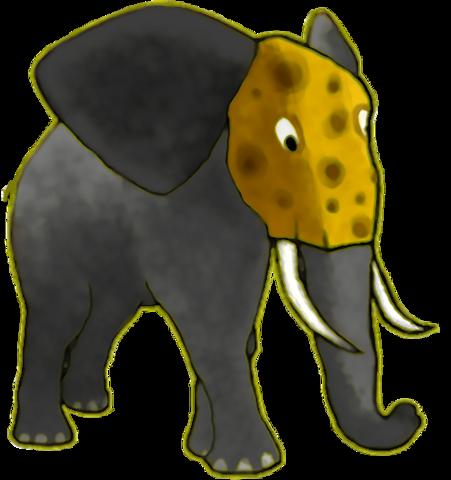 Dziki słoń z serem zamiast głowy