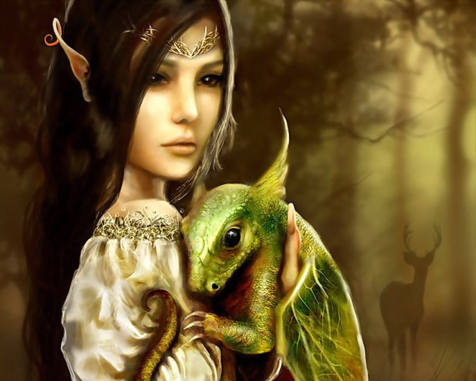piękny elf z wielkiego lasu,żyjący w harmonii ze zwierzętami