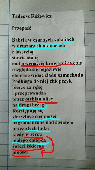 Wypisz Wszystkie Epitety I Metafory Z Wiersza Tadeusza