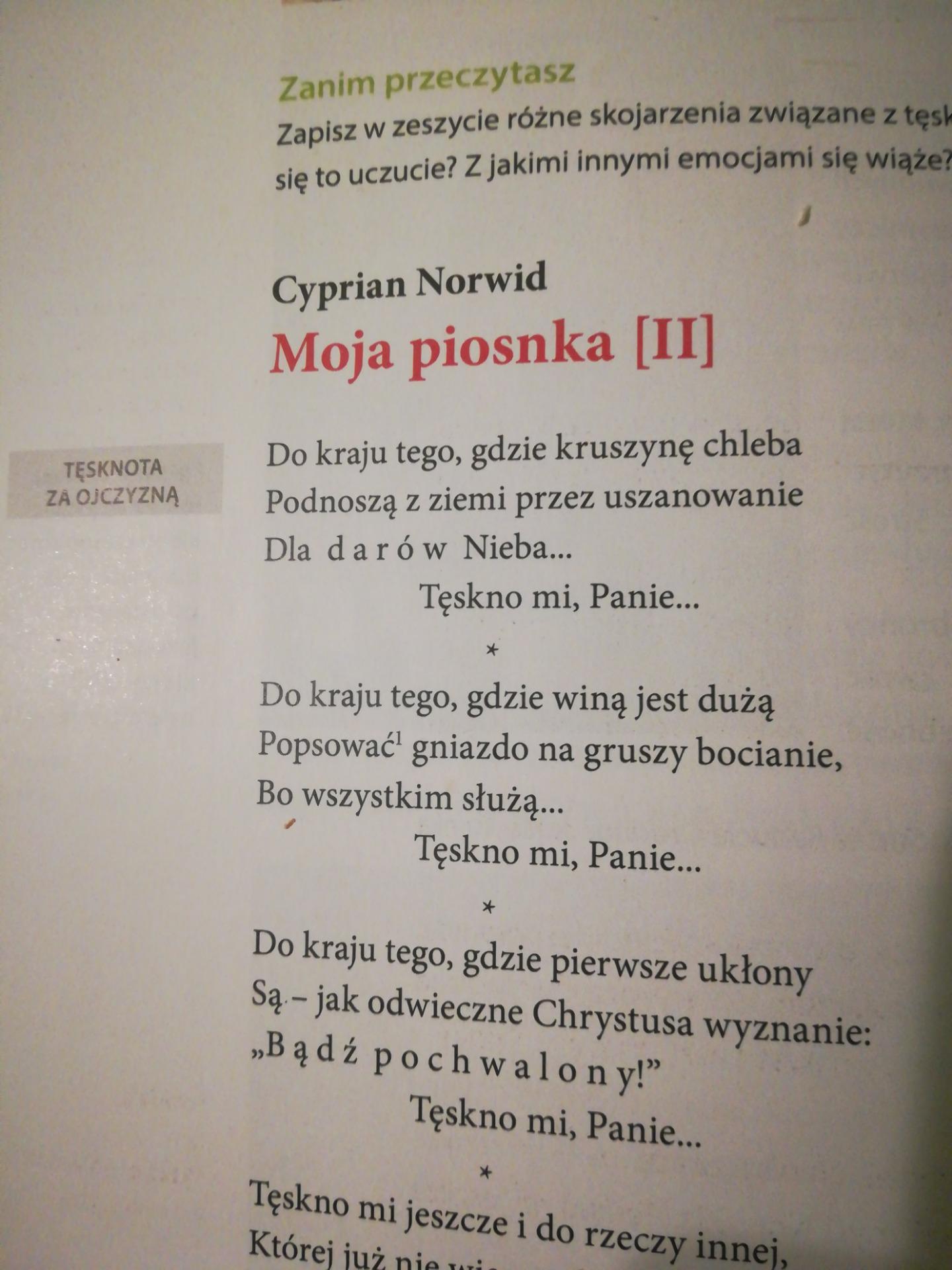 Zinterpretuj Wiersz Pt Moja Piosenka Ii Cyprian