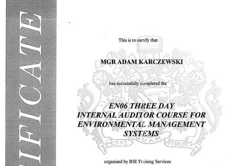 Ochrona środowiska, szkolenia bhp, sprawozdania środowiskowe